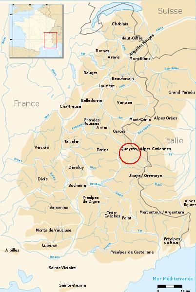 Carte de localisation du Mont Chenaillet.